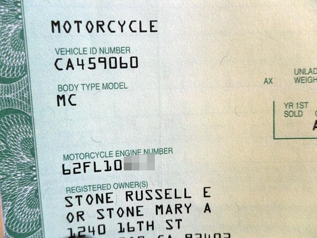 ハーレーダビッドソン 1962 FL Rigid pan 車体写真8