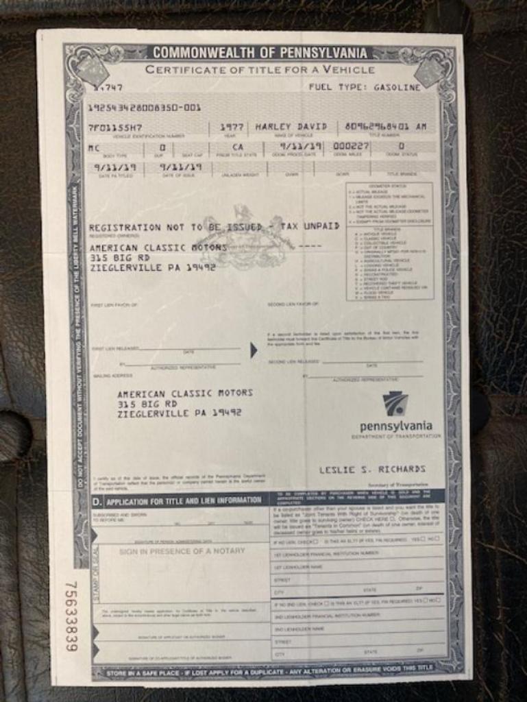 ハーレーダビッドソン 1977 XLCR 1000 車体写真12